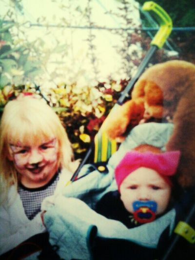 Looking at baby photos♥ me and the sister ♥ xo