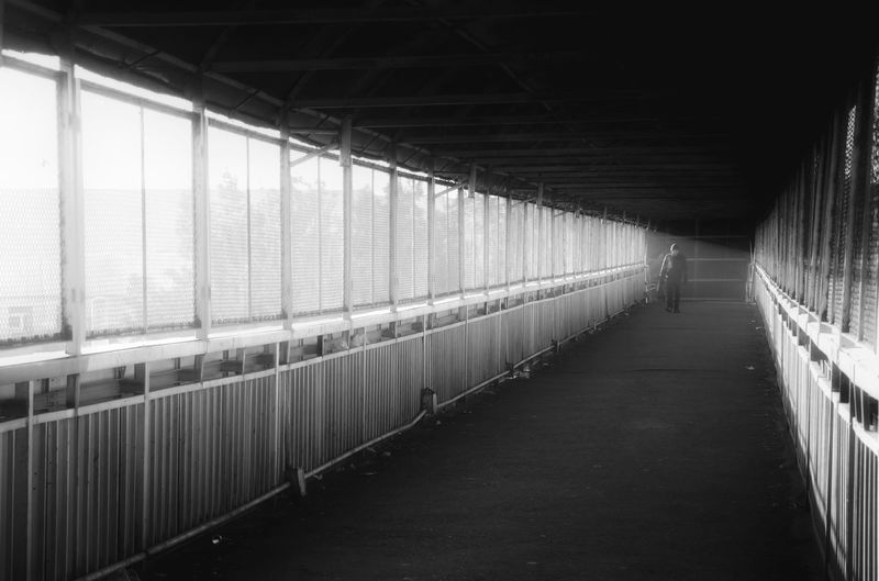 Empty corridor of bridge