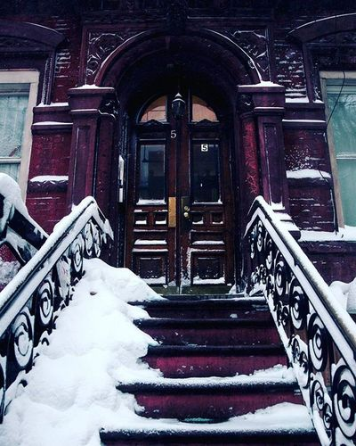 These little town blues Are melting away I'll make a brand new start of it In old New York Newyorkcity Door NYC Snow Eastvillage Saintmarks Winter