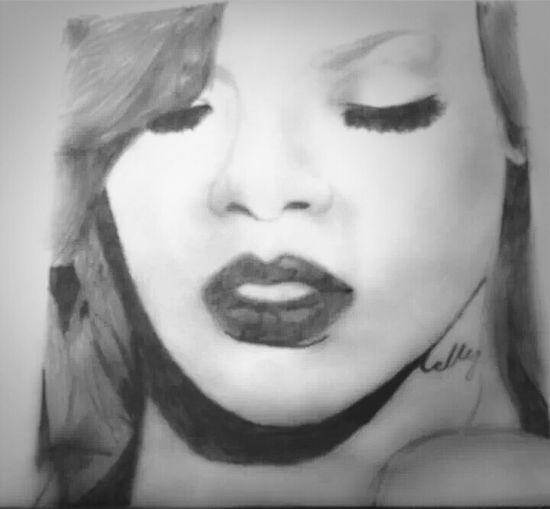 my drawing of rihanna
