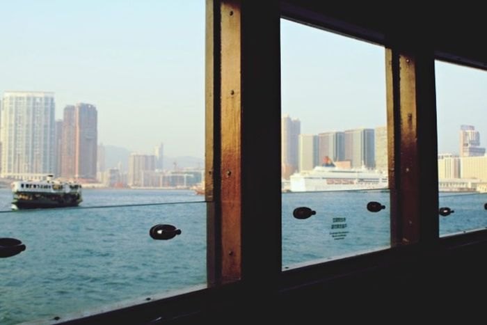 Enjoying The View Boat View Looking Out The Window Waterscape Urban Landscape Boats Windows Frames Golden Light HongKong
