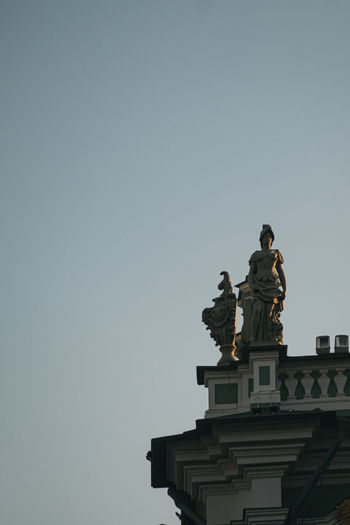 Low angle view of statue against clear sky