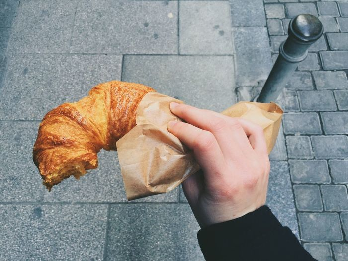 Croissant Sweet Eat Street Street Photography Breakfast Dessert Hand Human Hand Human From Above  Lunch Eating Show Us Your Takeaway! Up Close Street Photography