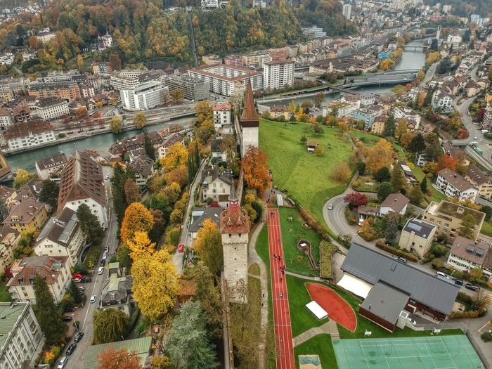Museggmauer's Park - Lucerne, Switzerland 2018 Musegg Wall Museggmauer Dronephotography Dji Spark DJI X Eyeem Switzerland No People High Angle View Day Nature Architecture Plant Built Structure Backgrounds Water Building Building Exterior Creativity Multi Colored Growth Sunlight Outdoors Beauty In Nature Full Frame Land City