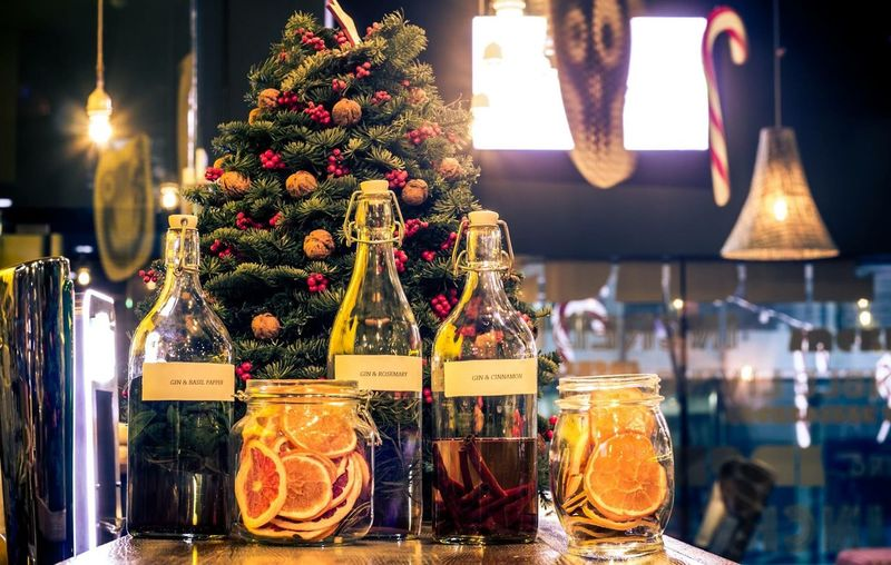 Drink Bottles On Table At Restaurant During Christmas