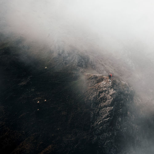 High angle view of person in foggy weather.