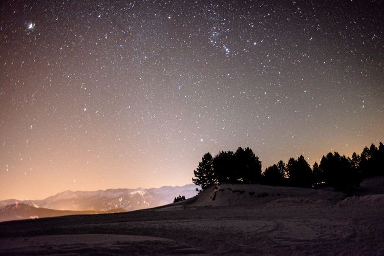 Stars shining in sky over landscape