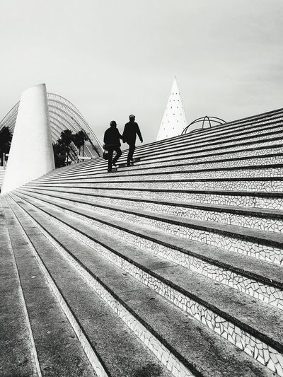 Upwards People Silhouette Adults Only Stairs Steps Outdoor Stairs Two People Climbing Stairs Going Up Black And White Monochrome Low Angle View Cone Cone Shape Lines Geometric Shape The Architect - 2017 EyeEm Awards