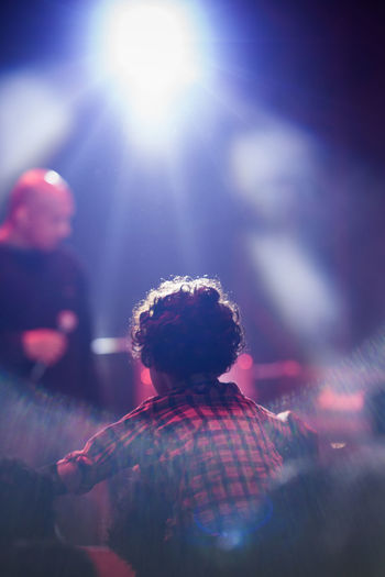 Bright Ethereal Focus On Foreground Music Music Night Person Rear View Red Tranquility