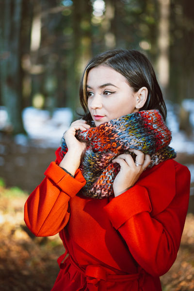 Portrait Portrait Of A Woman Nature Young Women Autumn Forest One Person One Woman Only Warm Clothing Cold Temperature Winter Women Snow Red Standing Females Winter Coat Knitted  Scarf Woolen Wool Coat Overcoat