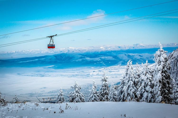 EyeEm Selects Nature Blue Sky Day Outdoors Beauty In Nature Cold Temperature Water No People Winter Mountain Snow Clear Sky Overhead Cable Car Ski Lift