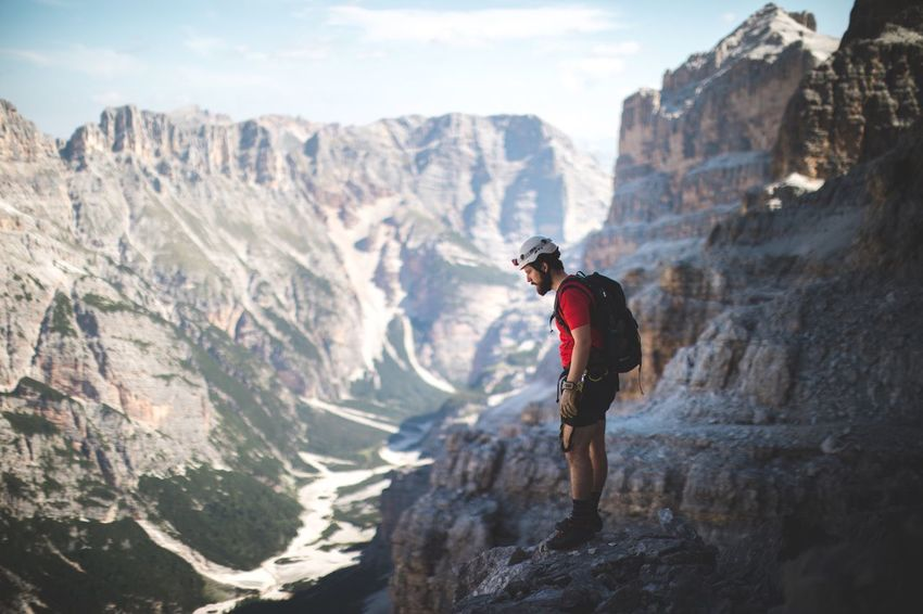 'Hey the people down there look like ants' Mountain Valley Dolomites, Italy One Person Mountain Range Adventure Nature Outdoors Climbing Climbing A Mountain Brother Friends Travel An Eye For Travel