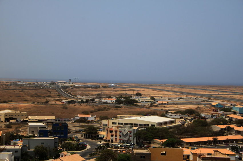 Aerial View Airport Architecture Building Exterior Capo Verde City Cityscape Day Espargos Espargos International Airport Houses No People Plant Roofs Sal Island Sky Summer 2015