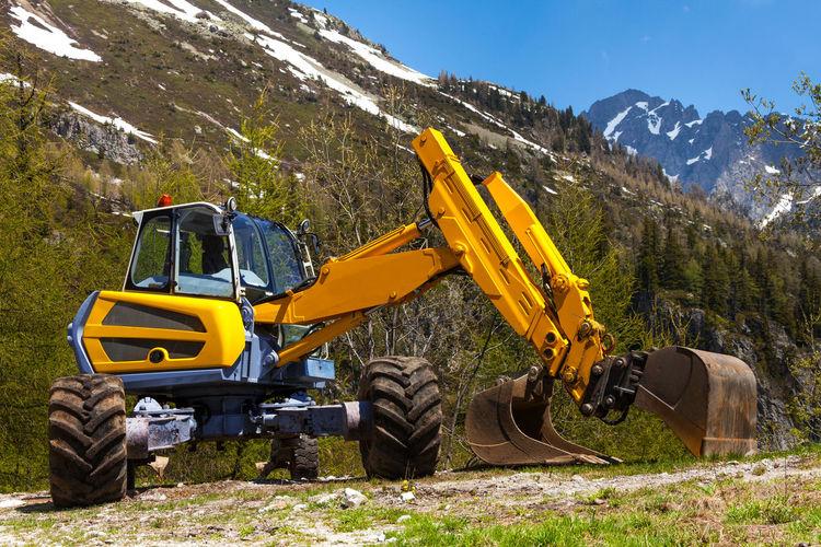 View of yellow machine part