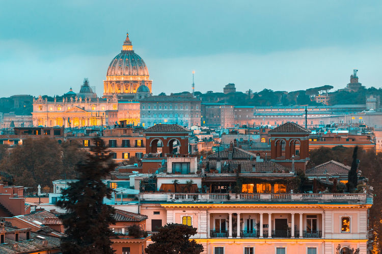 Buildings in city against sky of rome