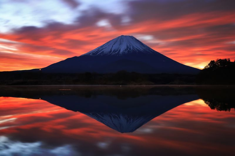 逆さ富士 Fuji 富士山 Fujisan World Heritage Japan Sky Water Sunset Beauty In Nature Reflection Mountain Lake Nature