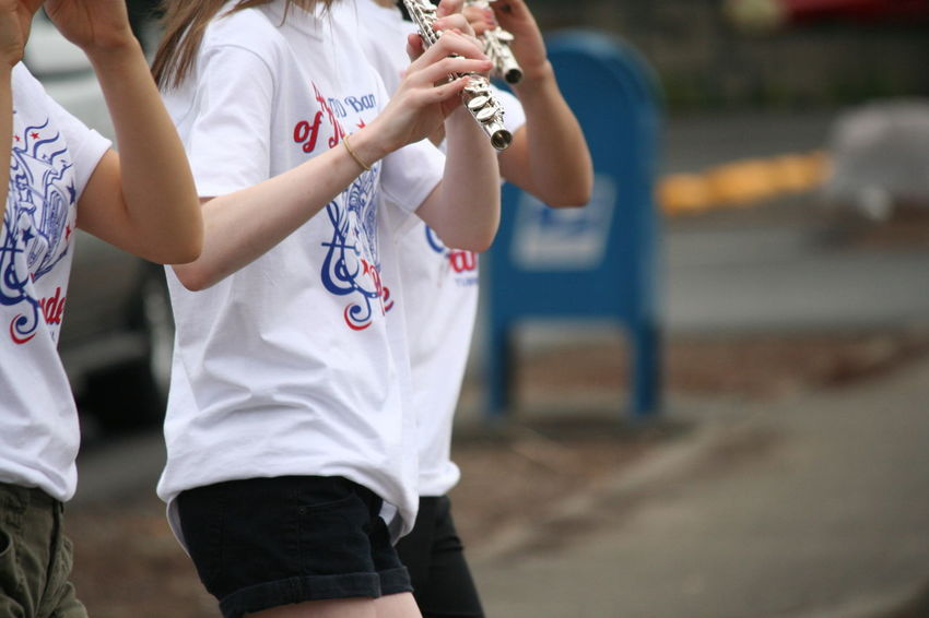4th Of July 2016 4th Of July Parade Casual Clothing Celebration Day Enjoyment Flute Focus On Foreground Fun Leisure Activity Lifestyles Marching Band Outdoors Patriotism Selective Focus Skill