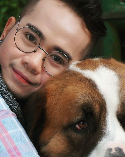 Dog Pets One Animal Portrait One Person Friendship Domestic Animals Human Face Baguio City, Philippines Benguet Lifestyles Happiness Eyeglasses
