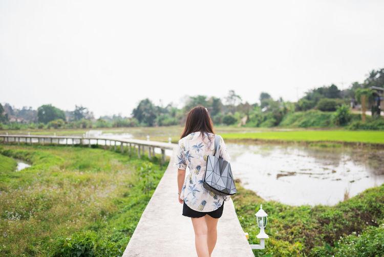 Rear view of woman walking on footbridge over swamp