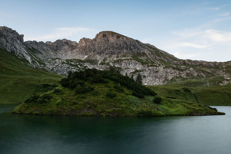 Sunrise hike - Schrecksee Allgäuer Alpen Allgäu Allgäuer Alpen Blue Hour Green Hiking Moon Schrecksee Adventure Beauty In Nature Blaue Stunde Canon Canon EOS 750D Lake Long Exposure Mountain Nature No People Outdoors Scenics - Nature See Summer Sunrise Tranquility Wide Angle