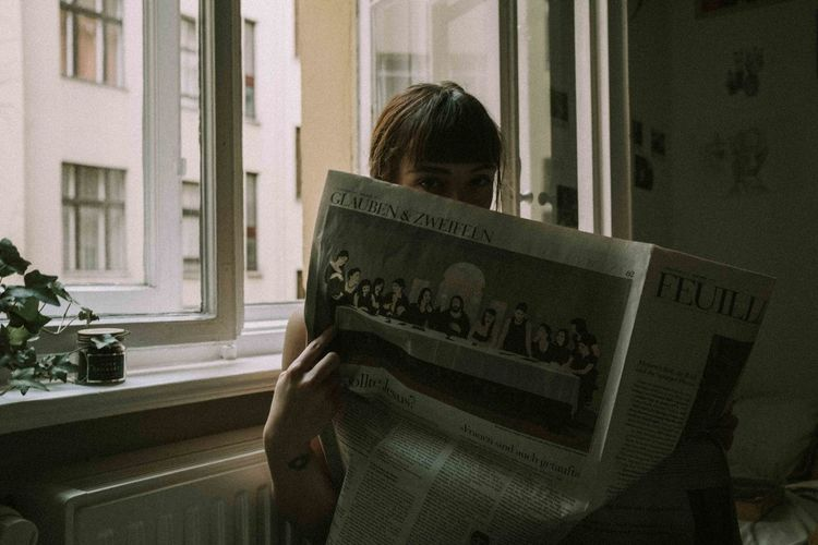 laura dec 17 Berlin Berlin Photography Home Sweet Home Portrait Of A Woman Retro Writing Newspaper Portrait