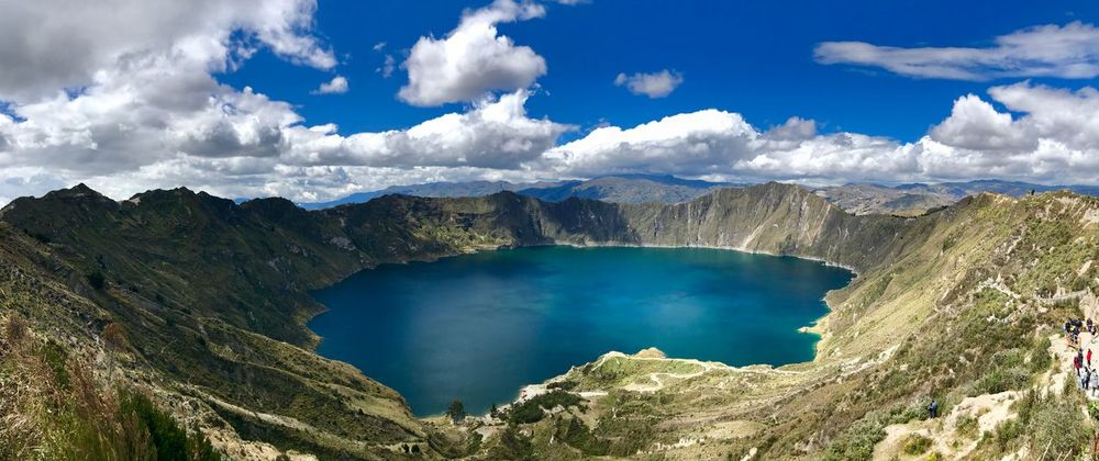 Quilotoa Panoramic Panorama Crater Volcano Cloud - Sky Sky Scenics - Nature Beauty In Nature Tranquil Scene Water Tranquility Non-urban Scene Mountain Nature Landscape Day No People Remote Lake Idyllic Outdoors Physical Geography Geology Land