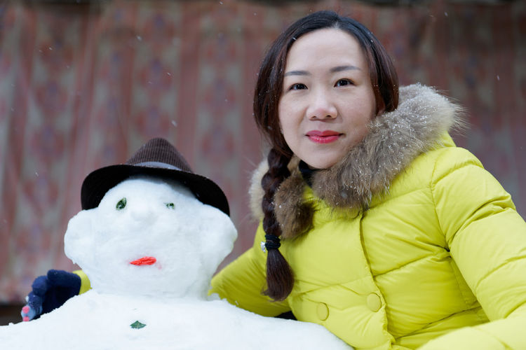 Snowman Warm Clothing Young Women Portrait Snow Smiling Cold Temperature Snowflake Winter Snowfall