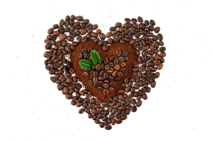Americano Arabica Aroma Backgrounds Beans Beverage Brown Cafe Caffeine Close Up Coffee Coffee Beans Coffee Powder Espresso Food And Drink Fresh Grain Ground Coffee Group Of Objects Heart Shape Heart Pattern Roasted Coffee Bean Robusta White Background