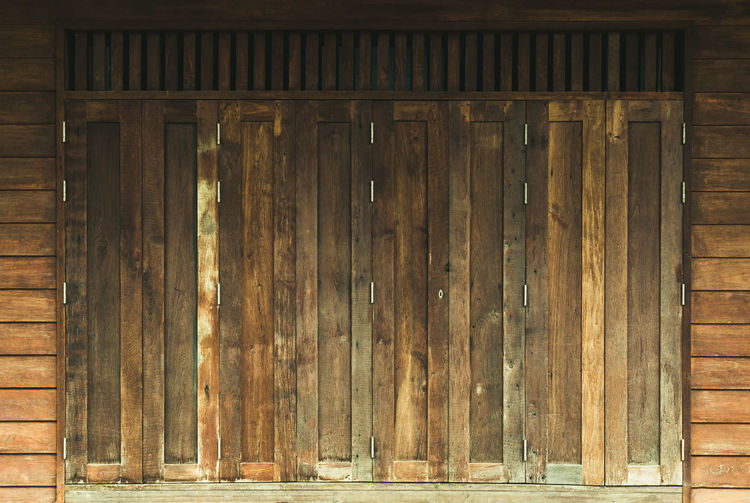Full frame shot of old wooden door of building
