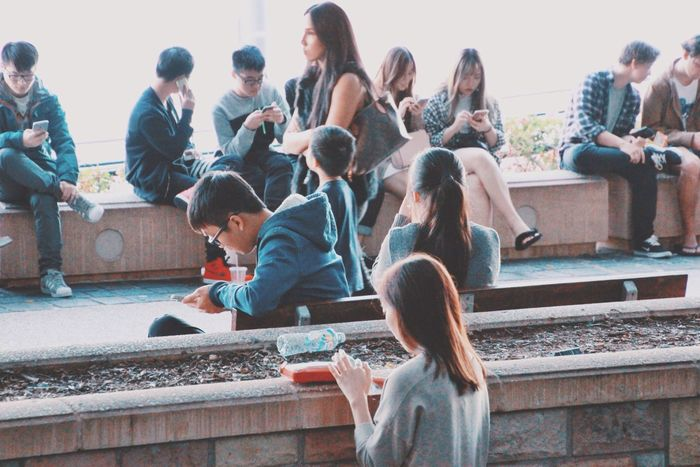 Everybody's on the phone College Life Sitting Casual Clothing People Together Young Adult Mobile Phone Mobile Love Addiction Technology Technology Everywhere Street Photography People Photography Urban Lifestyle City Life Streetphotography Street Busy Australia Internet Addiction People And Places Mobile Conversations