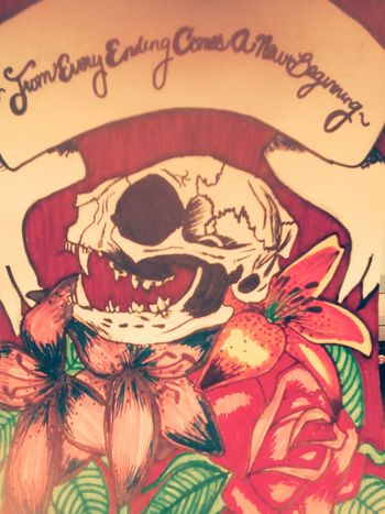 ArtWork Cat Skull Flowers Positivity