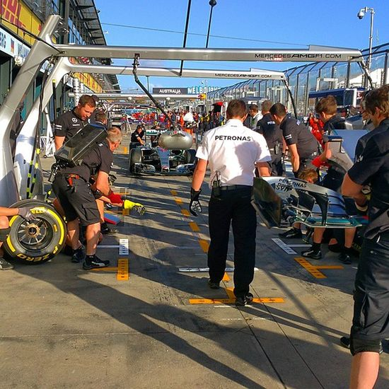 Pit Stop simulation at the Mercedes F1 team pits. Photo taken at the 2015 Australian Grand Prix Formulaone F1 Formula1 F1DownUnder AUSGP AustralianGrandPrix2015 Australia Melbourne AlbertPark MercedesamgF1