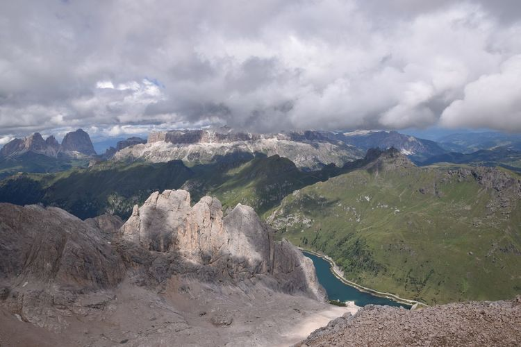 Dolomites mountains seen from mt marmolada during winter