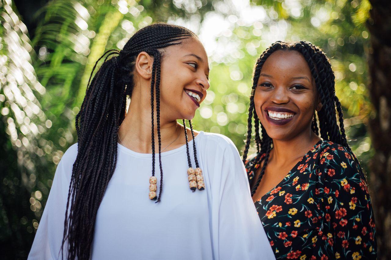 Close-up of happy female friends