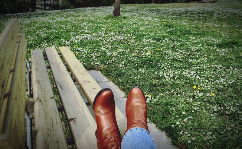 Showing Imperfection Brown Boots Sitting On A Bench Sitting Outside Sitting Alone Enjoying The Sun Enjoying Life Benches Of The World Wooden Bench Tree And Sky Flower Carpet Bio Diversity How I See My World Showcase April Flowers Are Blooming Blossoming Tree Spring Is Here