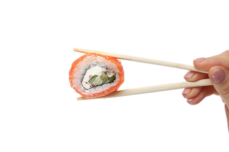 Low angle view of sushi on white background