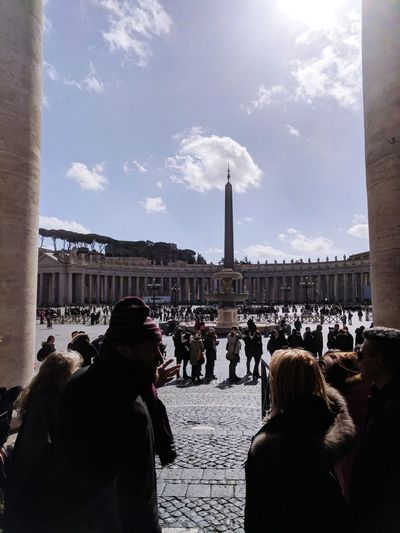 Looking out on St Peter's Square St Peter's Square Vatican City Italy Rome The Pope City Politics And Government Winter Cold Temperature Crowd Cityscape Snow History Sky Architecture