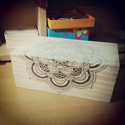 Mandala Box - Woodburning work in progress. The front is done, tomorrow we'll start on the top lid.