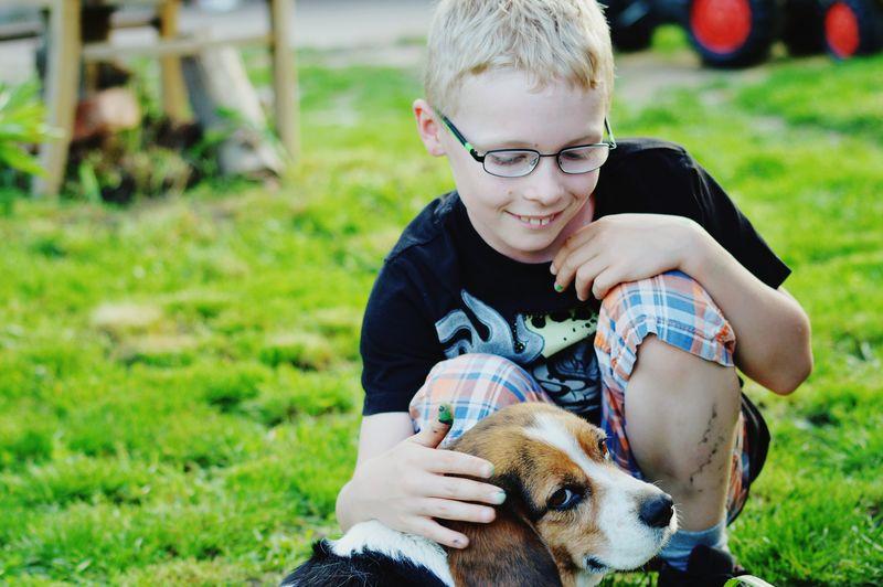 Boy Petting Dog While Crouching On Field
