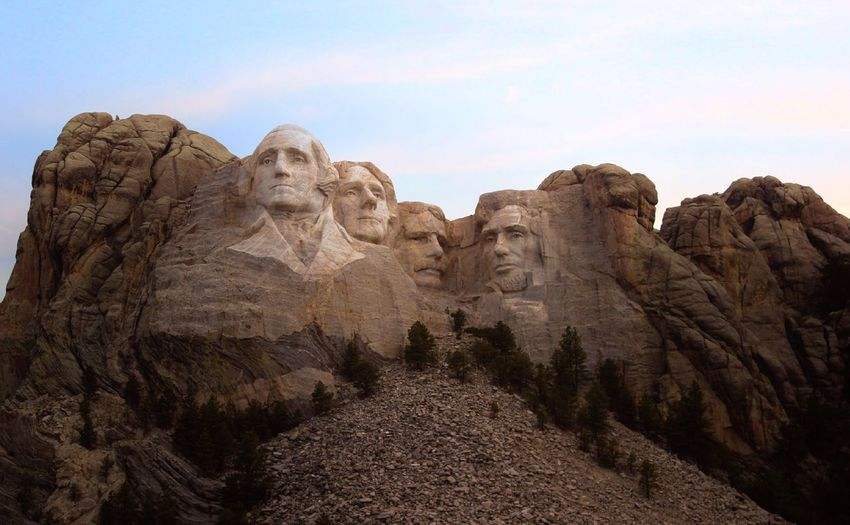 Low angle view of mount rushmore against the sky
