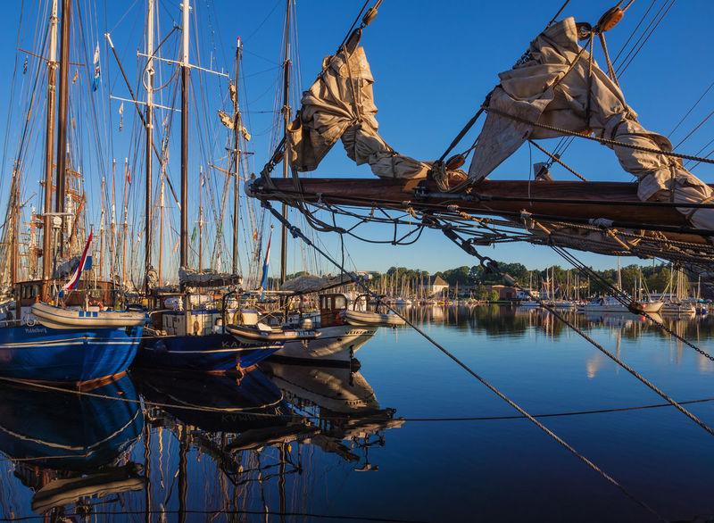 Windjammer in the port of Rostock, Germany. Hanse Sail Harbor Mast Morning Morning Light Nautical Vessel No People Outdoors Port River Rostock Sailing Ship Sky Warnow Water Windjammer