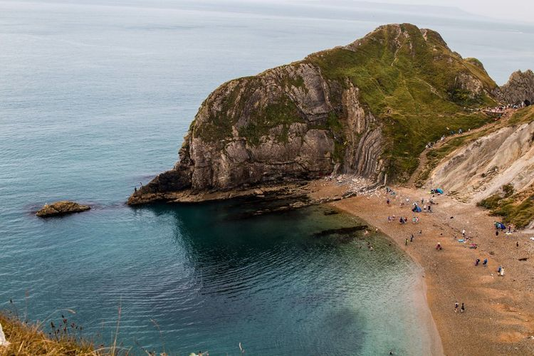 Aerial view of lulworth cove