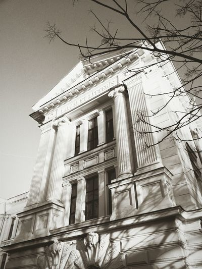 "Odessa medical University Architecture Cityscapes BW_photography Ukraine Streetphotography Discover Your City text on top-""LABORI ET LITTERIS"""