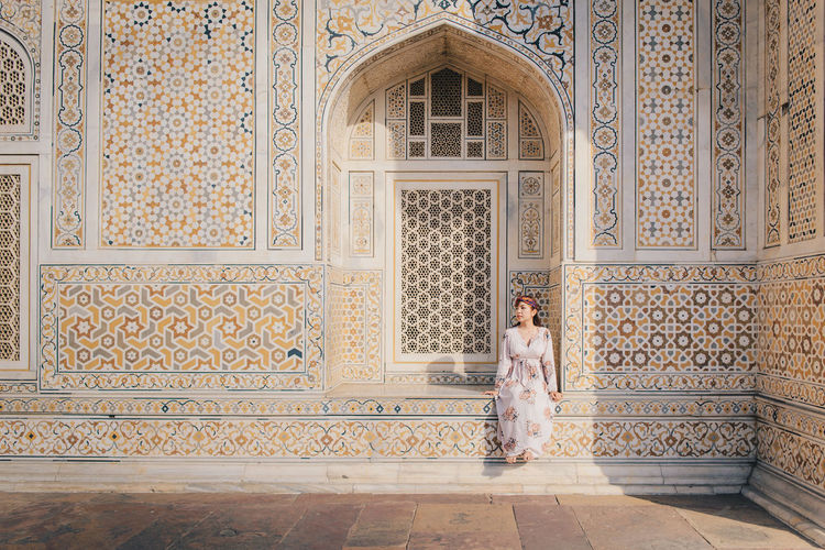 Girl in Tomb of I'timad-ud-Daulah or Baby Taj (Public place) the beautiful architecture in Agra, Uttar Pradesh, India Architecture Day Built Structure Agriculture Architecture Tomb Art Astronomy ASIA India Die Heritage History Landmark Monument Mosque Mogul International Women's Day 2019