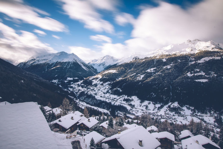 The val d'Anniviers, canton of Valais, Switzerland. Alps Beauty In Nature Chalet Cloud Cold Temperature Day Landscape Mountain Mountain Range Mountain Village Nature No People Outdoors Range Sky Snow Swiss Alps Switzerland Val D'Anniviers Valley Village Winter Shades Of Winter