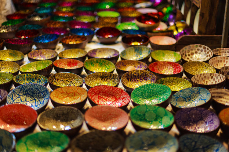 Full Frame Shot Of Multi Colored Bowls On Table