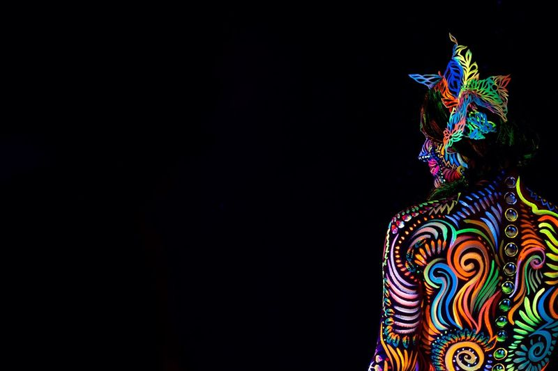 Body paint by my dear friend Liliana Hopman. Check her instagram to see more of her work: bodypaintlily Woman Art Neon Colored Neon Lights neon life Neon Black Light Pregnant Belly  Copy Space Multi Colored Art And Craft No People Creativity Pattern Black Background Craft Indoors  Studio Shot Celebration Design