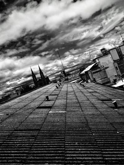 Horizon Roof Tin Roof Ceiling Ventilation No People Day Clouds Cloud - Sky Cityscape White And Grey Cloudy Day B&w Photo Black & White Sky Cloud - Sky