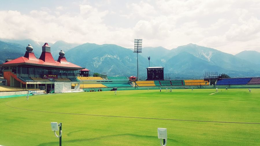 Dharamsala McLeod Ganj Cricket Field Mountain Mountain Range Outdoors Love To Take Photos ❤ Freshness Scenics Everyday Emotion Travel Destinations Clear Day Stadium Atmosphere Grass Nature Sky Environment Cloud - Sky Field Sport