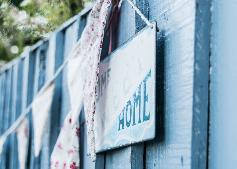 Essex Home Home Sweet Home Old Fashioned Outdoor Decorations Retro Sign Blue Bokeh Bunting Decoration Fence Flowery Leigh On Sea Outdoors Shabby Chic Sweet Texture Wood - Material Faded